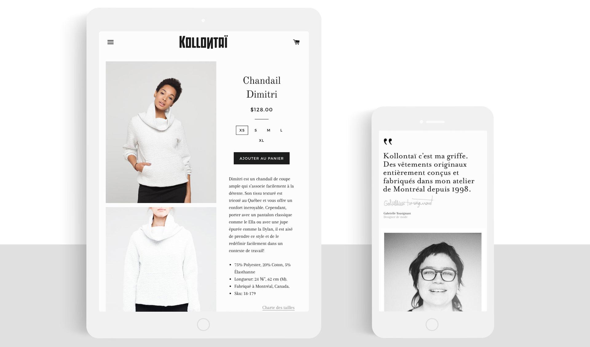 Kollontai Site web Shopify
