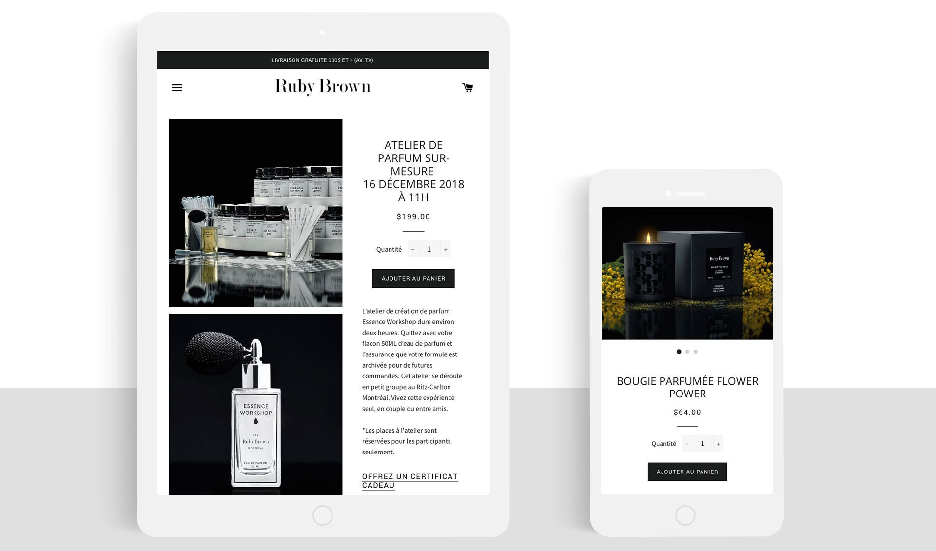 Site web Ruby Brown Shopify